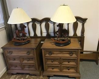 A set of mid century 2 Drew nightstands and a queen size headboard and foot board and frame (brand unknown).  The set is in very good condition.  Two lamps with rocking horses.
