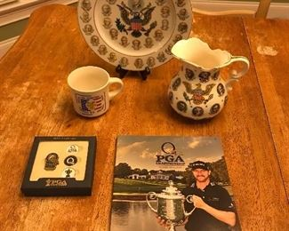 Vintage Presidents of the United States pitcher and plate. 2017 PGA program and hat clip set - both are new.  Collector's Shoney's Round Up coffee cup.