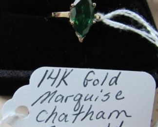 14K Gold, Marquise Chatham Emerald Ring