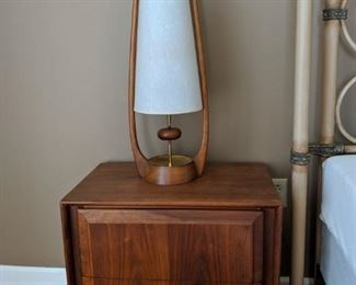 Danish Modern  Nightstand and Lamp