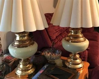 brass and porcelain lamps