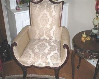 Elegant Vintage Hollywood Regency Mahogany Saber Leg Fireside Chairs Attributed to Grosfeld House Circa 1940s