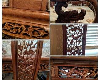 Hand carved Flower and Bird Dining Set details