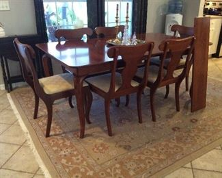 Hand-made solid cherry dining room table & chairs