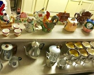 Teapot collection, silver plated stemware from Spain
