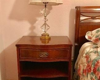 Mahogany bedside chest, one of pair