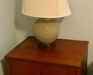 Mid century record cabinet, celedon lamp, one of pair