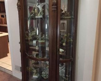 Large/tall curio with collection of Andrea Birds