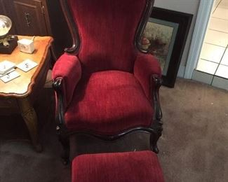 Red velvet Victorian chair and ottoman