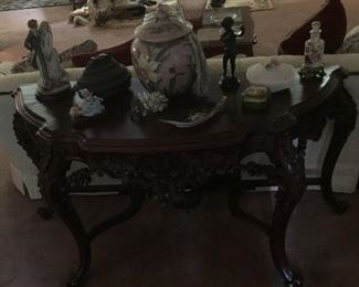 Nice Mahogany ornate console table (small crack on top)