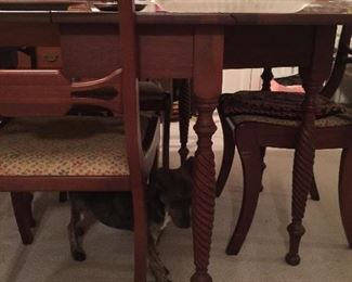 Little Bit examining the wonderful detail on the legs of the Federal Style Dining Table