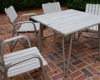 Aluminum and wood Vintage outdoor set