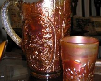 Carnival Glass Pitcher and Vase