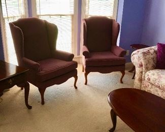 Lovely pair of upholstered arm chairs.
