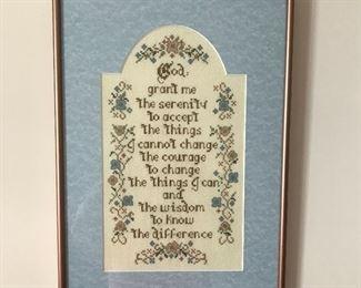 Framed cross stitched Serenity Prayer.
