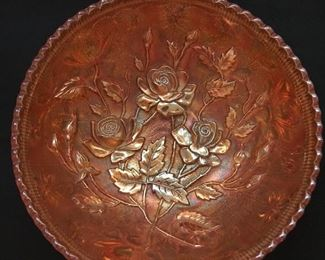 Vintage iridescent marigold carnival glass bowl.