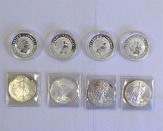 One Ounce Silver Coins U.S. & Australia 8 Piece https://ctbids.com/#!/description/share/151359