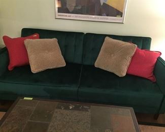 Brand new Futon Sofa in Emerald green velvet
