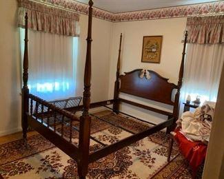 #3queen 4 post bed cherry $275.00