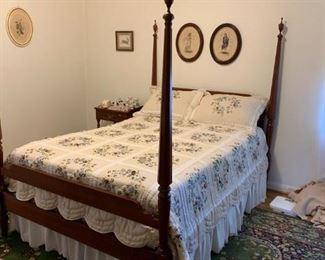 #4full 4 post bed frame cherry $175.00