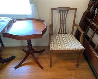 #53W-Table Pedistal Square Top End Table  24x29 - as is finish $75.00  chair goes to the dining room table #23