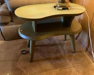 #18Green Distressed Painted  Kidney Shaped Table   27x17x20 w/shelf  $75.00