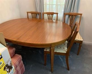 #23Wood Table w/5 chairs  62x42x29 - as is note arm chair is posted in a photo. $175.00