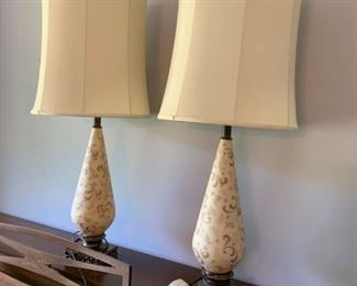 """#28(2) Mid-Century Lamps w/Painted Glass 36"""" Tall   $100 each $200.00"""