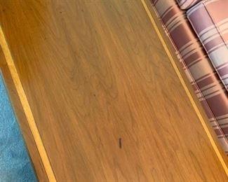 #33Chapel Wood Cherry Coffee Table w/inlay 46x22x15 - as is $25.00