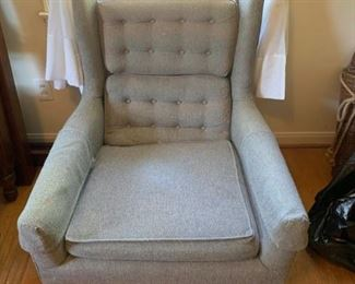#51Mid-Century Dusty Blue Button Back Chair $75.00