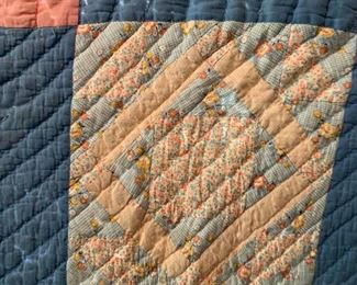 #60Queen Size Scrappy Square in a Square Quilt $50.00