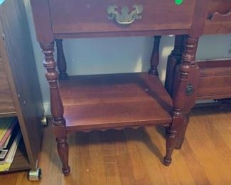 #66Bedside Table w/one drawer  w/back scalloped edge   19x15x28 $65.00