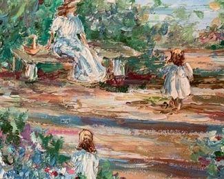 #67Original Oil Painting - Impressionist - Mom w/2 little girls $150.00