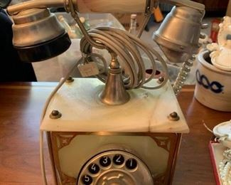 #76Vintage Marble Rotary Phone  - as is Back $50.00