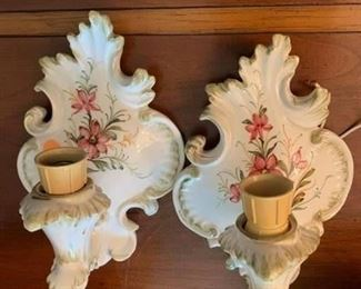 #77Café Du Monde Hand-painted Wall Candle Holders - Pair $75.00