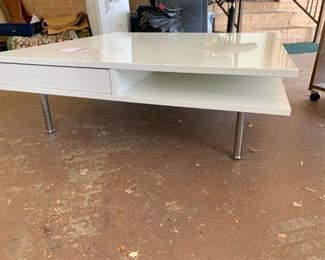 #89H TableMid Century White Square coffee table on Metal legs  with storage shelves  $200.00