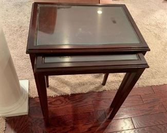 #7	2 stacking table w glass on top 20x16x22	 $75.00