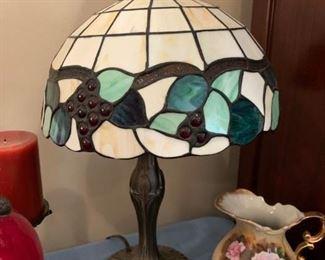 #19green tiffany style lamp 20 tall  $65.00
