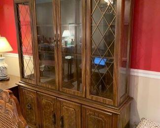 #22china cabinet 2 piece 4 door glass top 59x16x29-81 $75.00