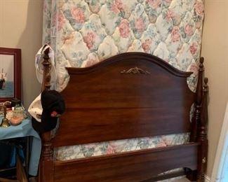 #29queen size 4 post bed  $175.00  #30queen size cream flowered mattress set $75