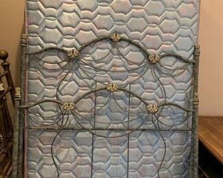 #31queen green metal bed frame  $175.00  #32queen size blue mattress set  $75.00