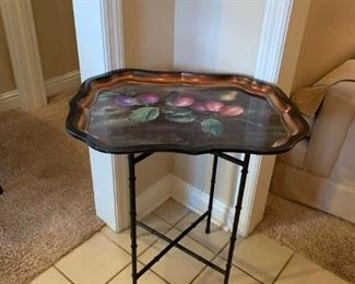 #37flowered tray table on metal legs 22x17x28 $75.00