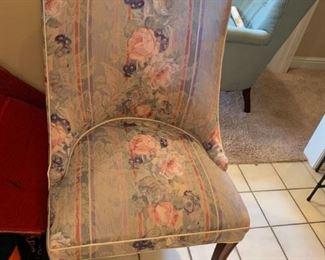 #38flowered strip end chair  $65.00