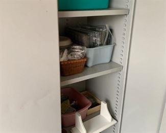 #52metal  4 shelf 2 door cabinet 36x18x72 $75.00