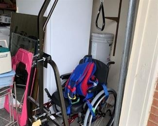 #58burgundy wheelchair 16 wide  $75.00  #59hoist for person to pull themselves up in bed  $65.00