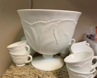 #65white milk glass punch bowl with 12  cups on pedistal $80.00