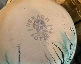 #66Bemadji Pottery green vain vase $65.00