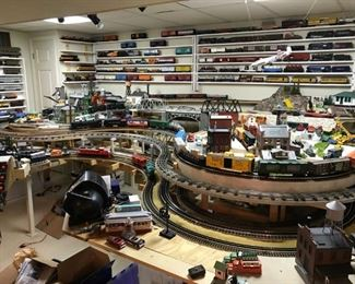 A glimpse of the train collection in the basement
