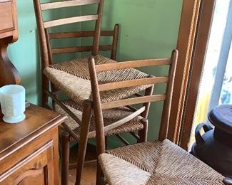 Set of 4 vintage  rush chairs