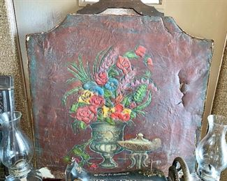 Super neat, Vintage  hand-painted fireplace screen